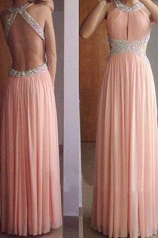 Shining Sexy Backless Open Back Long Prom Dress, Pink Chiffon Beaded Prom Gown, Formal Dresses, Woman Evening Dresses, Long A-Line Pink Beaded Chiffon Evening Winter Formal Prom Dress