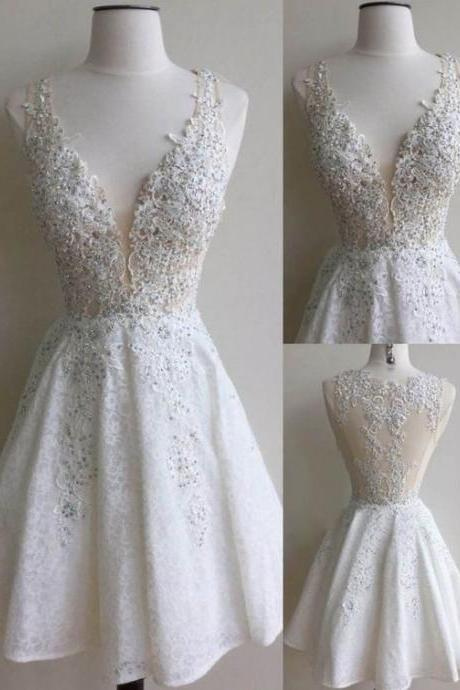 Ivory Lace Homecoming Dress,Short Prom Dress, White Prom Dress,Prom Dress for Weddings and Events,Gorgeous V-neck Prom Dress,Formal Prom Dress,Graduation Dress,Party Dress,Hot Sale Homecoming Dress