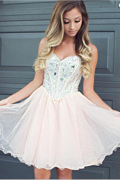 Fabulous Sweetheart Light Pink Short Homecoming Dress with Beading, High Quality Homecoming Dresses, Short Party Gown, Short Prom Gowns, Beautiful Dress for Special Occasions