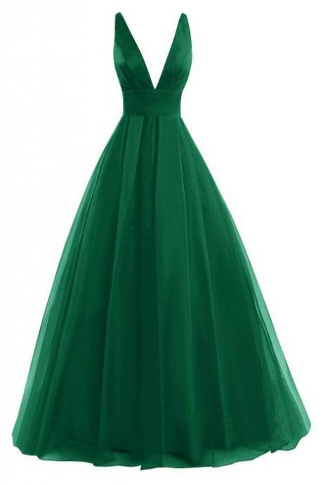 Green Prom Dresses 2016, Backless Prom Dresses,Green Prom Gowns,Party Dresses 2016,Long Prom Gown,Prom Dress, Elegant Green Tulle Evening Dresses, Formal Gowns