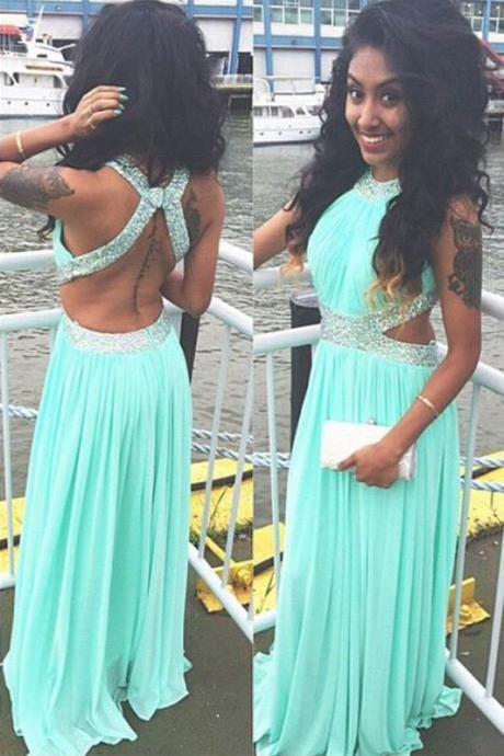 Sexy Backless Long Chiffon Prom Dress, Backless Evening Party Dress, Prom Dresses Beading, Mint Prom Dress,Floor Length Bridesmaid Dress,Beading Evening Dress,Halter Prom Dresses