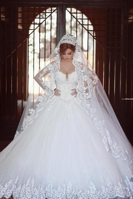 Custom Made Bridal Wedding Dress, Princess Sweetheart Wedding Gowns, Long Sleeves White Lace Wedding Dresses, High Quality Bodice Fluffy Skirt Bridal Gown