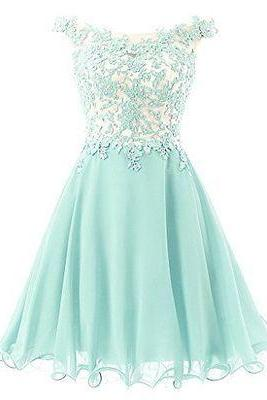 Light Blue Lace Appliqué Cap Sleeved Short Chiffon Homecoming Dress - Evening Dress, Party Dress