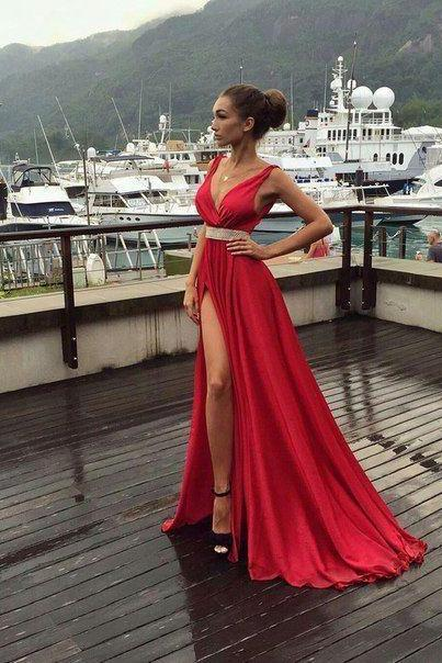 Elegant Red Evening Dress,Long Prom Dress,Sexy Front Slit Prom Dresses, Dress for Prom, Fashion Formal Dress