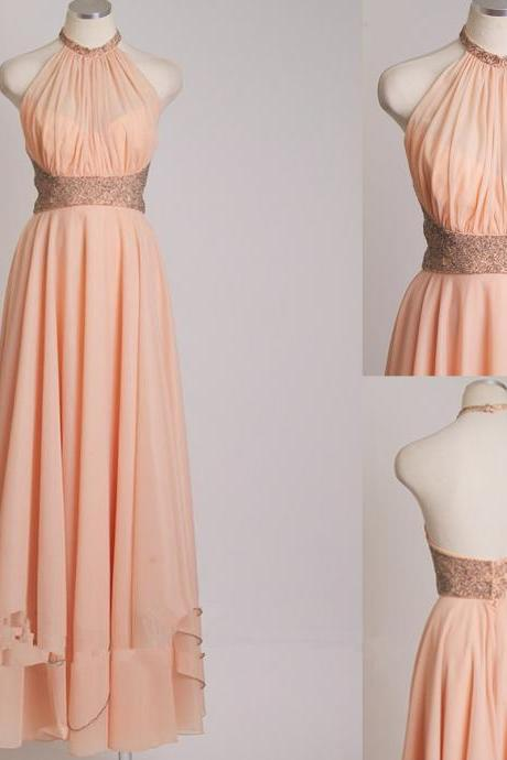 Elegant Chiffon Floor Length Prom Dress, Pearl Pink Prom Dress, Halter Prom Dress, Backless New Style Evening Dress,Long Prom Dress,Dress For Prom,Cheap Prom Dress,Formal Party Dress