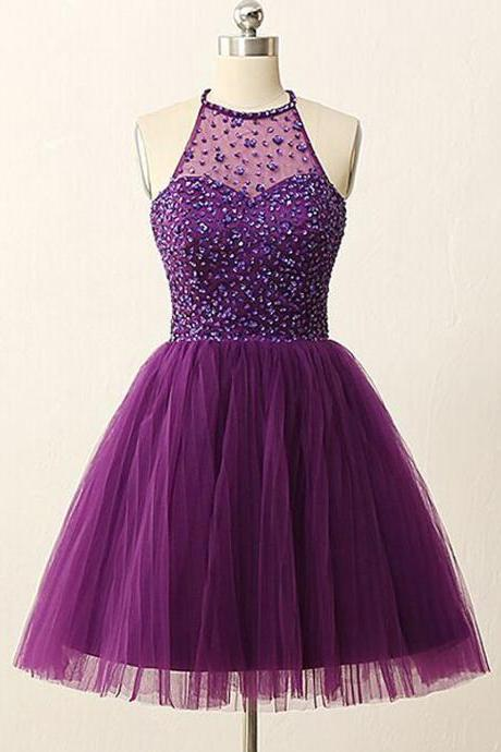 Beautiful Purple Short Prom Dress, Backless Prom Dress, Purple Homecoming Dress, Beaded Prom Dress, Formal Homecoming Gown, Ball Dress, A-line Halter Knee-Length Tulle Backless Purple Prom Homecoming Dress with Rhinestones