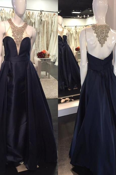 Charming Black Satin Prom Dress, High Neck Prom Dress, Beading Prom Dress, Ball Gown, Black Formal Dresses, Elegant Evening Dress, Party Dress