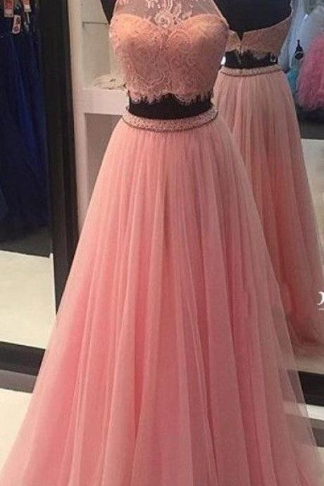 High Neck Prom Dresses, Charming Prom Dress,Two Piece Tulle Prom Dresses,Long Lace Evening Formal Dress,Evening Gown,Women Dress, Two Pirces Prom Dress