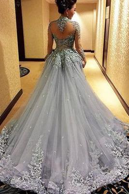 Gorgeous Prom Dress, Sexy Prom Gown, Long Sleeve Prom Dress, Grey Prom Dress, High Neck Prom Dress, Prom Dress, See Through Back Long Prom Dress