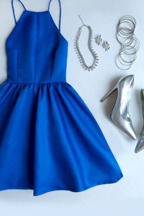 Chic Short Prom Dress, Flat-Out Blue Prom Gown, Stunning Woman Dress, Homecoming Dresses, , Backless Party Dress, Spaghetti Straps Dress