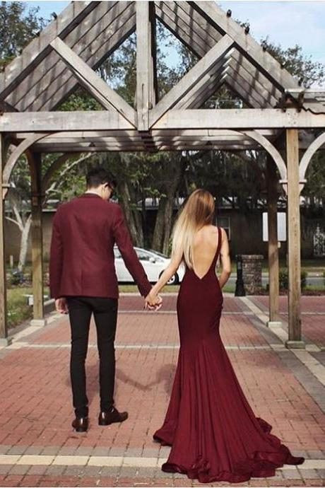 Elegant Scoop Sweep Train Maroon Backless Prom Dress Evening Gown, Long Prom Dresses,Maroon Prom Gown ,Formal Evening Dresses,Evening Dress 2016