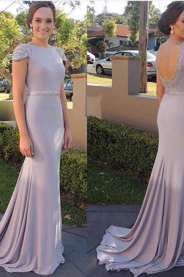 Sexy Mermaid Evening Dress,Open Back Prom Dresses,Cap Sleeves Formal Dress, Long Prom Dress, Prom Dress with Sweep Train, Prom Dress for Weddings