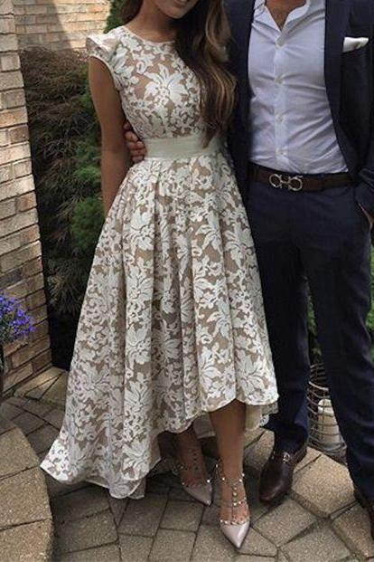 High-low Prom Dress,Cute Round Neck Lace Prom Dress For Teens, Cute Homecoming Dress,Lace Bridesmaid Dress, Party Dress, Modest Prom Dress,Formal Women Dress,Prom Gowns 2016