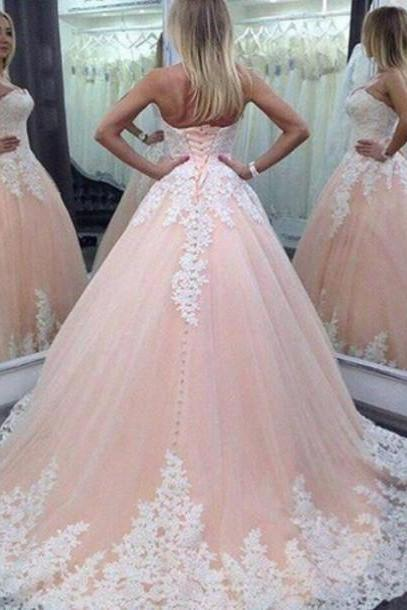 2016 Vintage Pink Lace Tulle Long Wedding Dress, Pink Wedding Dress, Ball Gown Wedding Dress, Lace Wedding Dress, Plus Size Wedding Dress