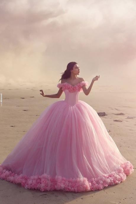 Beautiful Pink Wedding Dresses, Arabic Said Mhamad Pink Wedding Dresses 2017, Pink Tulle Wedding Dresses, Off the Shoulder Wedding Dresses, 3D Appliques Wedding Dresses, Robe De Mariage, Tulle Wedding Dress
