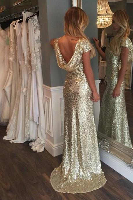 Luxurious Gold Sequins Cap Sleeves Long Prom Dress with Train, Glod Sequins Prom Dress, Woman Evening Gown, Elegant Formal Dresses, Prom Evening Dress, Party Gown