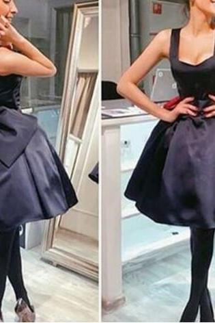 Cute A Line Homecoming Dress,Bow Graduation Dress,Black Cute Homecoming Dresses, Short Prom Dress, Girl Party Dresses