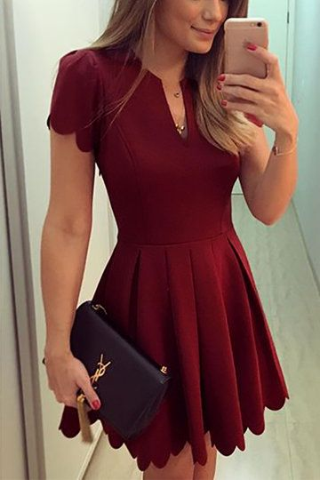 Burgundy V-neck Dress, Woman Dress, Short Prom Dress, Short Sleeves Prom Dress, Short/Mini Cocktail Dresses, New Year Party Dresses