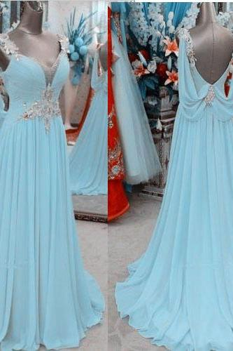 Light Sky Blue Prom Dresses,Chiffon Prom Gowns,Backless Prom Dresses,2016 Party Dresses,Long Prom Gown,Princess Prom Dress,Sparkly Evening Gowns,Open Back Prom Gowns,Sexy Evening Gowns