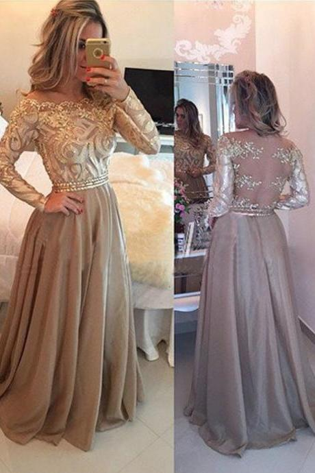 Hot Selling Luxurious Cowl Floor Length Gold Evening Dress, Prom Dress with Long Sleeves, Long Prom Dress, Backless Prom Dress, Lace Embroidery Prom Dresses