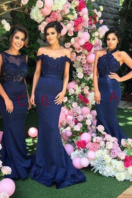 Stylish Halter Open Back Mermaid Navy Blue Bridesmaid Dress with Lace Beading, Navy Blue Bridesmaid Dresses, Long Bridesmaids Dresses, Elegant Wedding Party Dresses, Long Prom Dress