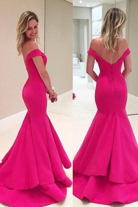 Elegant Off The Shoulder Prom Dresses, Mermaid Prom Dress,Satin Prom Dress,Formal Gown,Sexy Evening Gowns,Party Dress,Mermaid Prom Gown For Teens