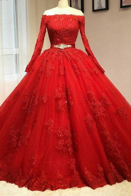 Red Prom Dress, Ball Gown Prom Dress, Long Sleevev Red Wedding Dress, Real 2016 Delicate Red Ball Gown Quinceanera Dresses, Prom Dress,Long Prom Dresses,Evening Dress,Long Evening Dress ,Evening Dresses 2016,Quinceanera dresses