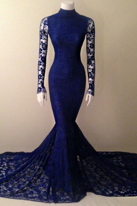 Navy Blue Soft Lace Long Sleeves Mermaid Evening Gown With High Neck, Lace Prom Dress, Charming Prom Dress, Woman Evening Dress