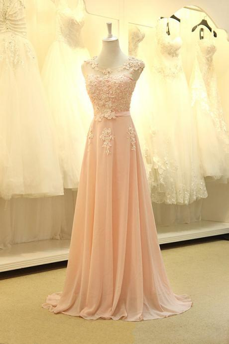 Pink Chiffon Floor Length Prom Dress With Lace Appliques,Long Prom Dress,Chiffon Prom Dress,Modest Prom Dress