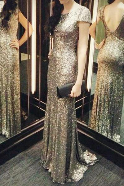 New Arrival Sliver Sequin Backless Prom Dress, Sequin Prom Dress, Customized Elegant Scoop Neck Long Prom Dresses, Mermaid Prom Dresses, Woman Formal Dresses, Vestidos De Gala