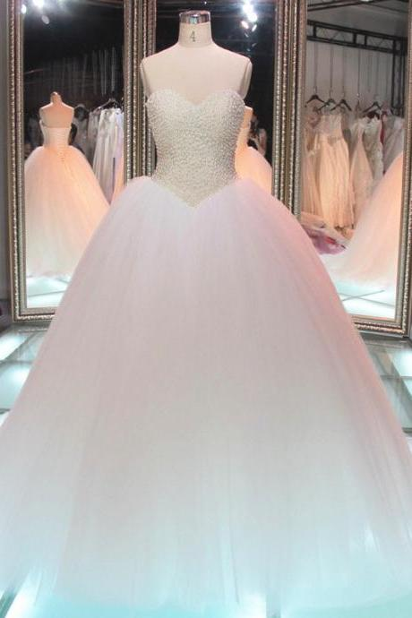 Princess Wedding Dresses, Noble Wedding Dresses, Sweetheart Beaded Bodice Wedding Dresses, 2017 Real Photos Handmade Wedding Dresses, Pearls Wedding Dress, Tulle Wedding Gown