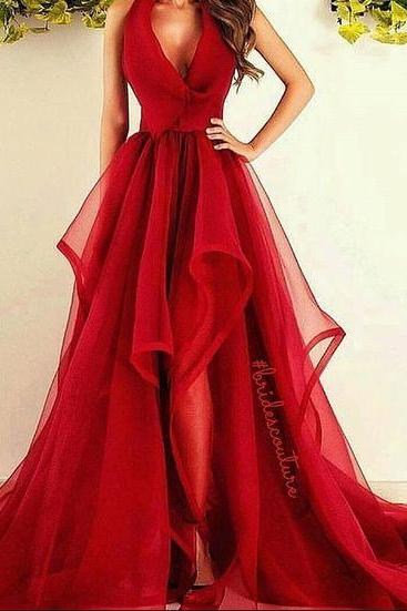 Beautiful Red Long Prom Dress, Sexy V Neck Prom Dress, Puffy Skirt Prom Dress, A-line Prom Gown, Ruffled Prom Dress, Prom Dress for Teens, Charming Formal Dress
