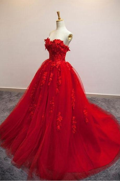 Red Floral Lace Strapless Wedding Gown, Red Wedding Dress, Tulle Wedding Dress,, Ball Gown Wedding Dresses
