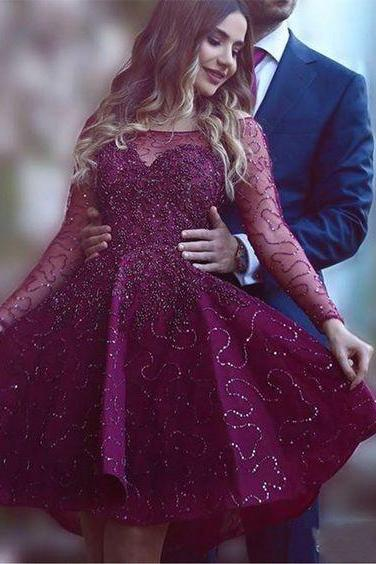 Burgundy Homecoming Dress,Wine Red Homecoming Dresses,Beading Homecoming Dress, Short Prom Dress, Long Sleeves Party Dress, Sweet 15 Dress