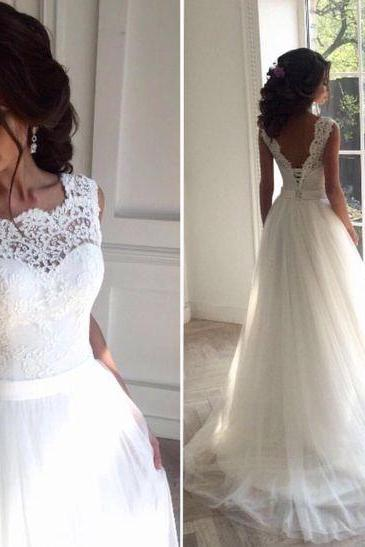 Illusion Neckline Wedding Dress, Lace and Tulle Wedding Dress, Future Wedding Dress, Delicate Lace V-back Wedding Gown, Bridal Dress, Formal Wedding Dress