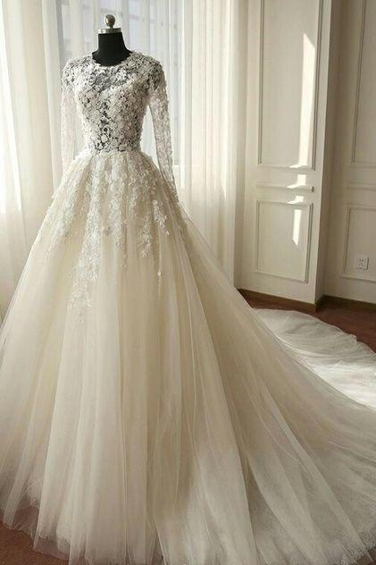 Beautiful Long Sleeves Wedding Dress, Ivory Tulle Lace Wedding Dress, Lace Wedding Dress, Sexy Wedding Dress, A-line Wedding Gown, Bridal Dress