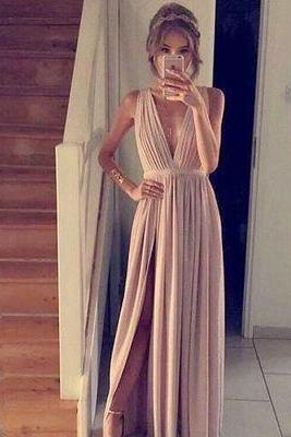 Simple Prom Dress,Chiffon Prom Dress,Blush Pink Prom Dresses,A-Line Prom Dress,Slit Evening Gowns,Cheap Party Dress,Elegant Prom Dresses,Formal Gowns For Teens