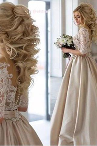 2017 Wedding Dresses, Lace and Satin Wedding Dress, Champagne Wedding Dresses, Wedding dresses A-line, Elegant Wedding Gown, Wedding Dresses Champagne