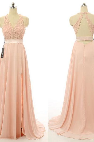 Blush Pink Evening Gowns,Sexy Formal Dresses,Chiffon Prom Dresses,2016 Prom Dresses,2016 Fashion Evening Gown,Sexy Evening Dress,Party Dress,Bridesmaid Gowns
