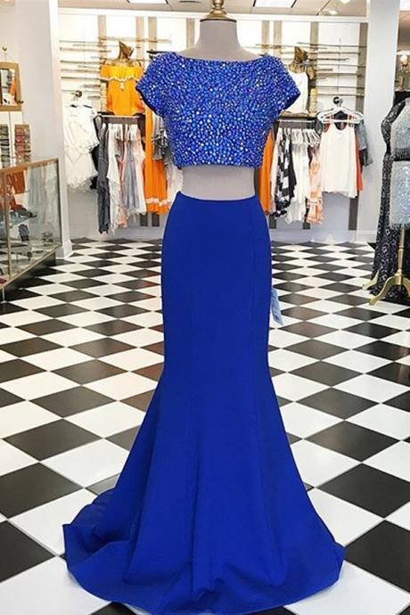 Modern Two Piece Prom Dress, Short Sleeves Prom Dress, Long Prom Dress, Royal Blue Prom Dress, Mermaid Prom Dress with Beading