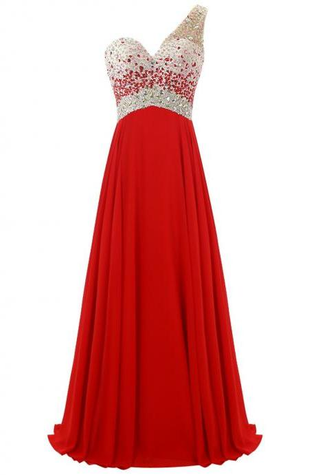 Embellished Prom Dresses, Beaded Prom Dress, Long Prom Dress, Chiffon Prom Gown, Charming Red Prom Dress, Evening Dresses, Prom Dress for Teens, Formal Dress for Evening Events