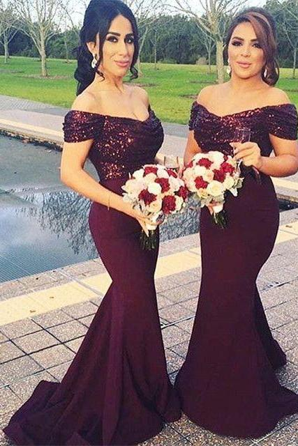 Stunning Off Shoulder Sweep Train Burgundy Mermaid Bridesmaid Dress with Sequins, Burgundy Bridesmaid Dress, Off the Shoulder Prom Dress, Long Dress for Wedding Party, Woman Dresses