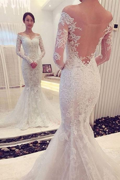 Charming Off The Shoulder Long Sleeves Lace Mermaid Wedding Dress, Mermaid Lace Wedding Dress, Lace Wedding Dress, Long Sleeves Wedding Dress, High Quality Wedding Gowns