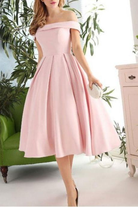 Audrey Hepburn Inspired 1950s Vintage Dress, Off the Shoulder Prom Dress, Pink Prom Dress, Short Prom Dress, Short Evening Dress, Formal Dress Keen Length