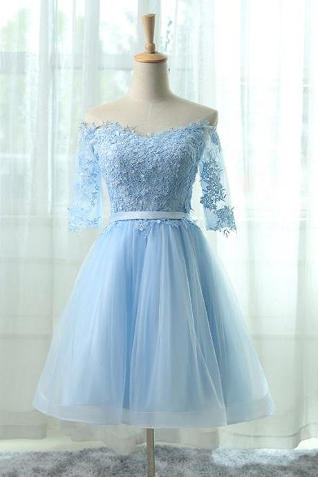Off-the-shoulder Lace Applique Short Homecoming Dress in Light Blue, Short Prom Dress, Modest Homecoming Dress, A Line Short Prom Formal Evening Gowns,Special Occasion Dress, Sweet 15 Dress
