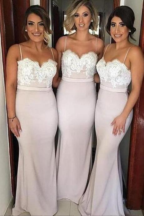 Sexy Sweetheart Sweep Train Pink Mermaid Bridesmaid Dress, Lace Bridesmaid Dress, Spaghetti Straps Bridesmaid Dresses
