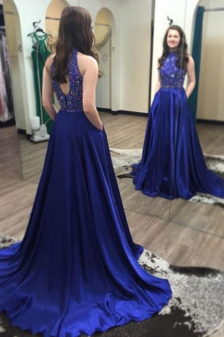 Royal Blue Two Pieces Beading Prom Dresses,Long Prom Dresses,Cheap Prom Dresses,Evening Dress Prom Gowns, Custom Made Formal Women Dress