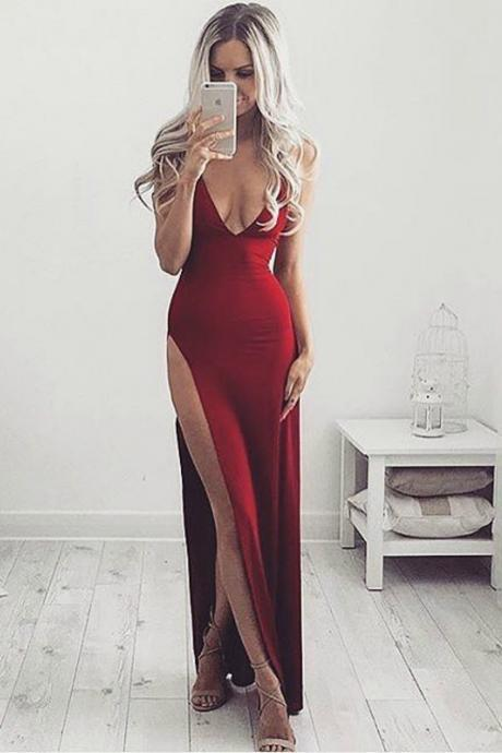 Sexy High Slit Prom Dress, Red Long Prom Dress, Woman Maxi Dress, Sexy V Neck Evening Dress, Long Formal Dress, Party Dress, Woman Dresses
