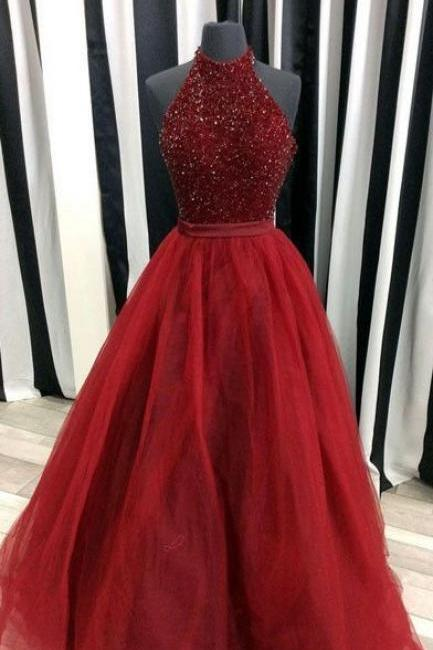 Charming Prom Dress,Beading Prom Dress,Organza Prom Dress,Ball Gown Prom Dress, Sexy Burgundy Prom Dress