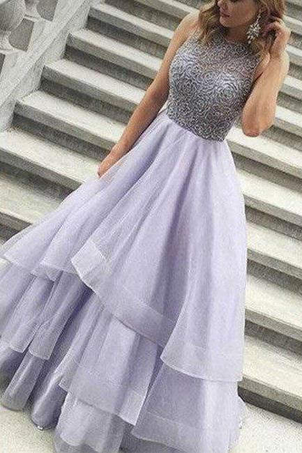 Beading Tiers Ball Gown Organza Prom Dresses 2017, Lavender Prom Dress, Beaded Prom Dress, Senior Prom Dress, Prom Dress for Teens